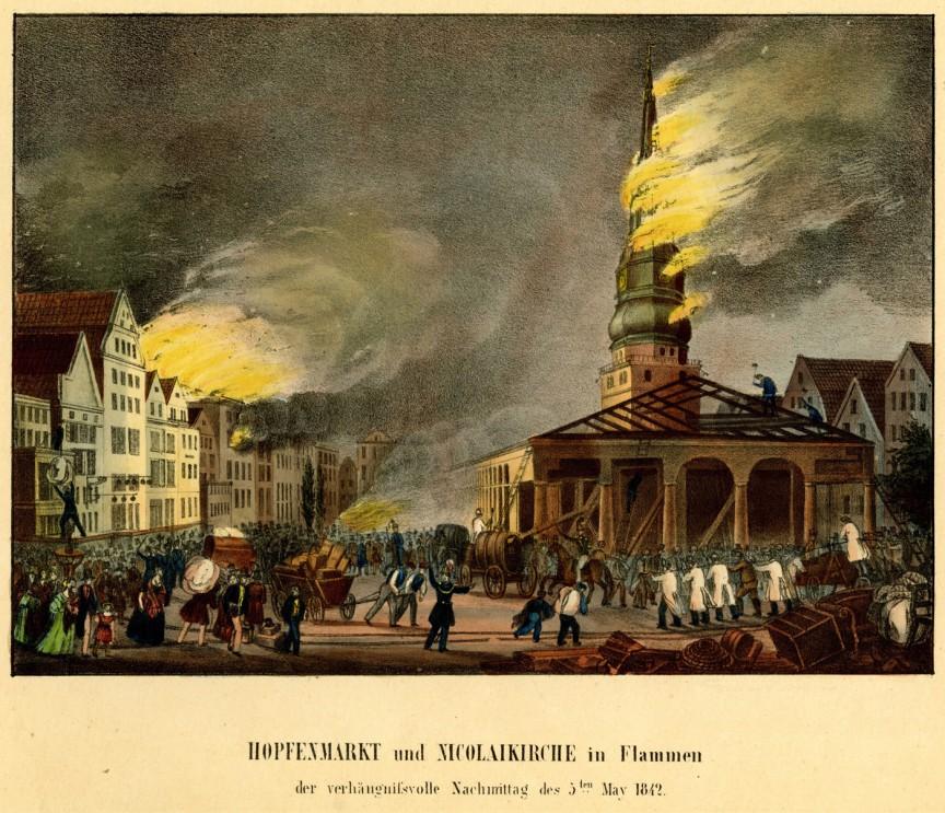 Marele incendiu din Hamburg - Nicolaikirche în flăcări